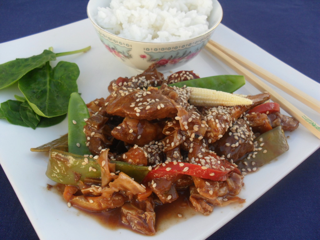 Stir fry pork with ginger and soya