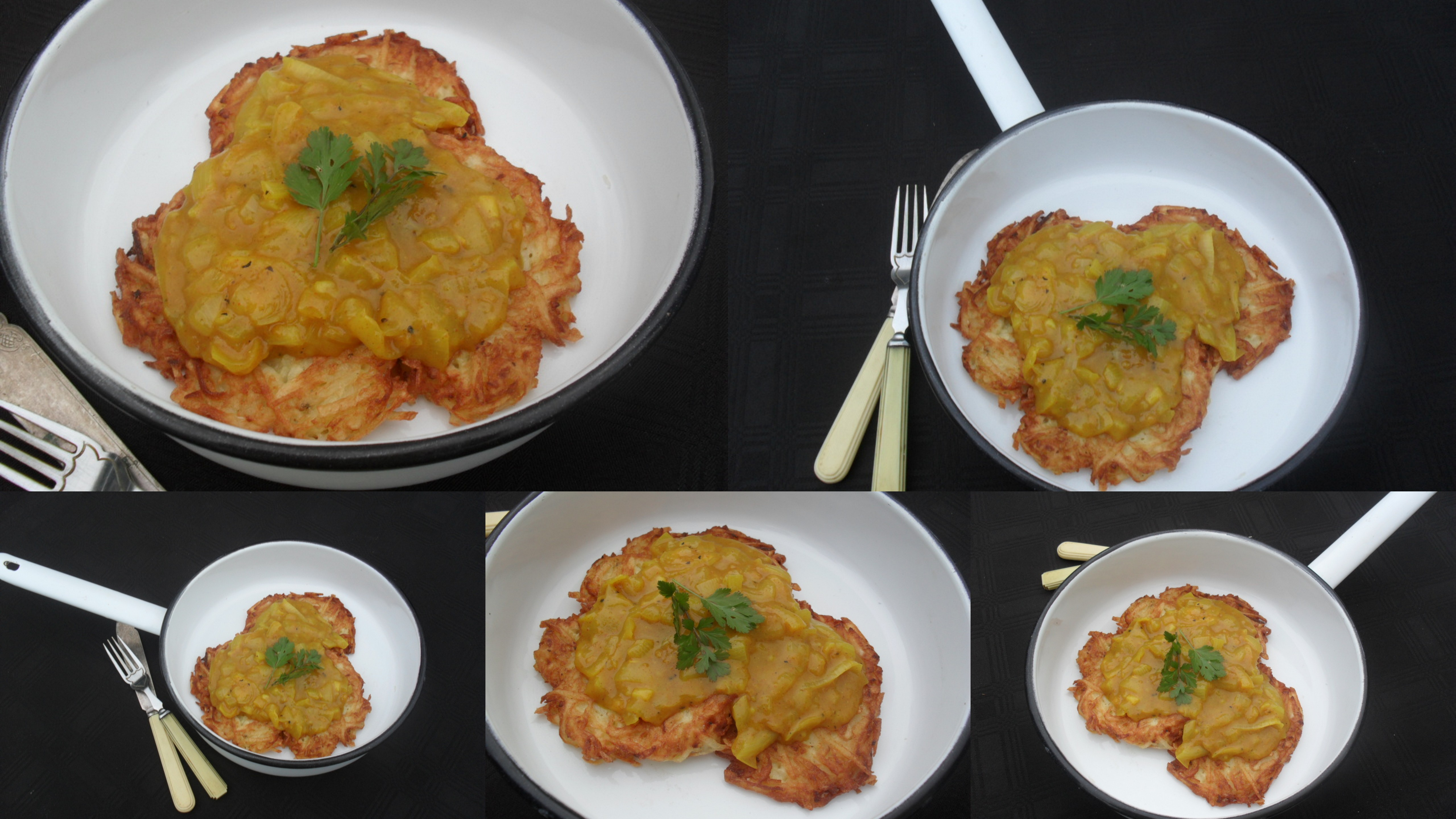Potato laktes with a curry sauce recipe