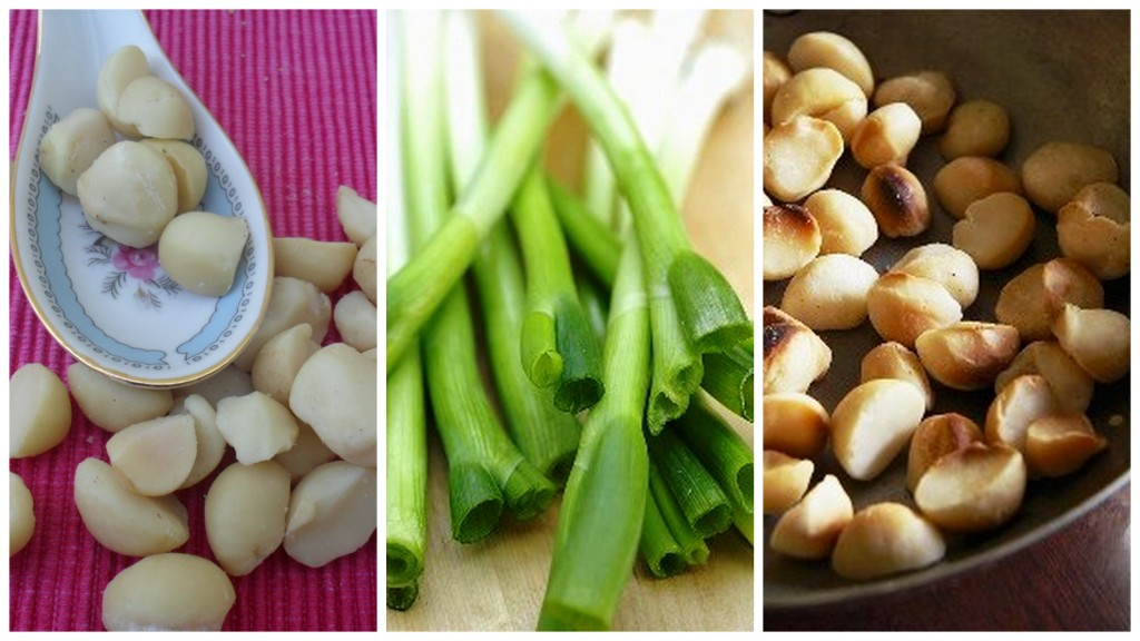 spring onions and macadamia nuts