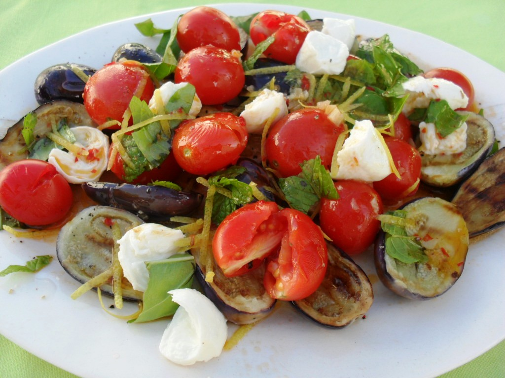 Baby aubergine and booncini salad recipe