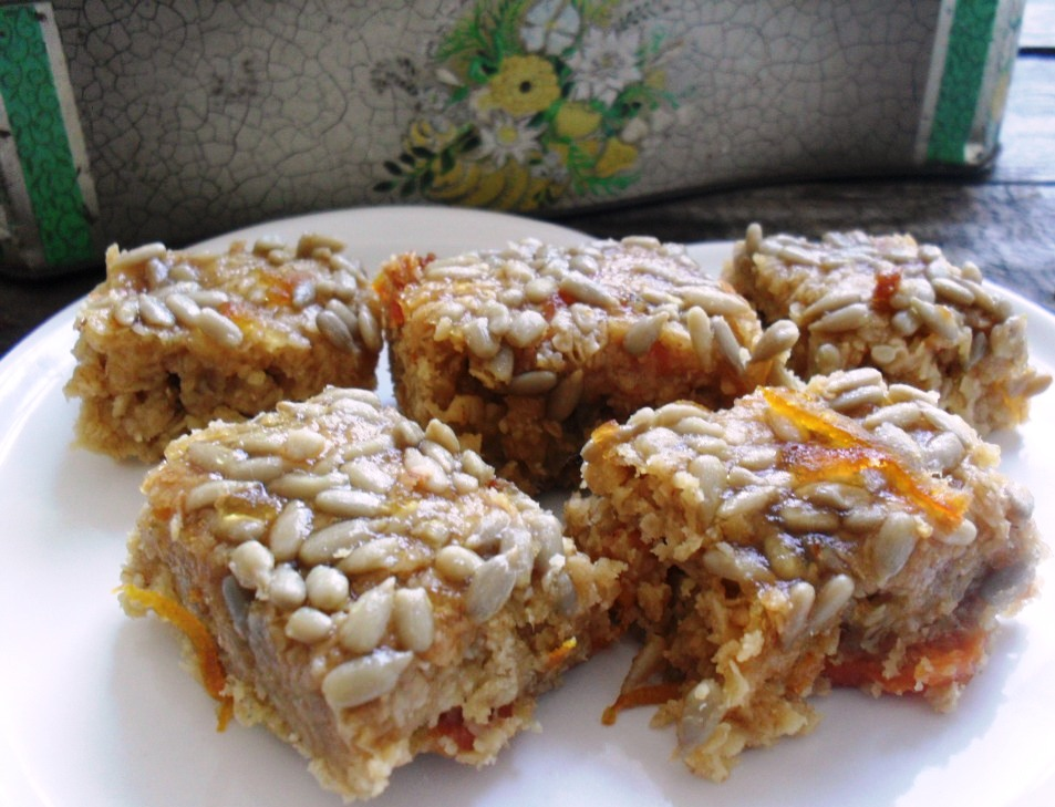 Sticky orange and peach crunchies recipe