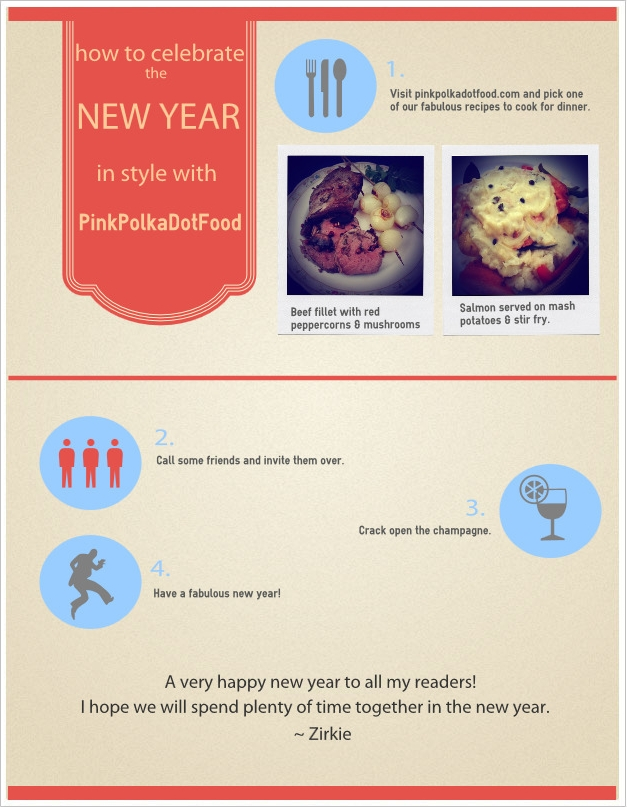 Pink Polka Dot Food New Year Infographic