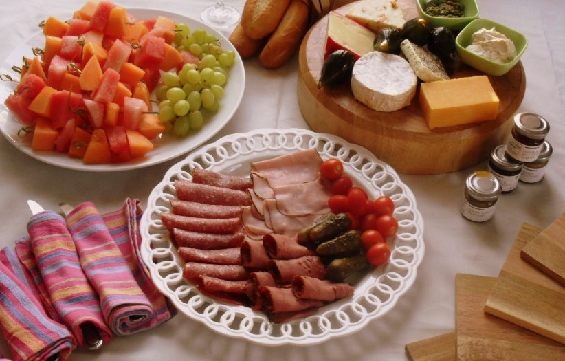 Cheese, cold meats and fuit