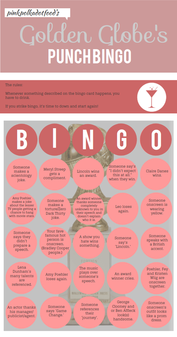 pink polka dot food golden globes bingo drinking game