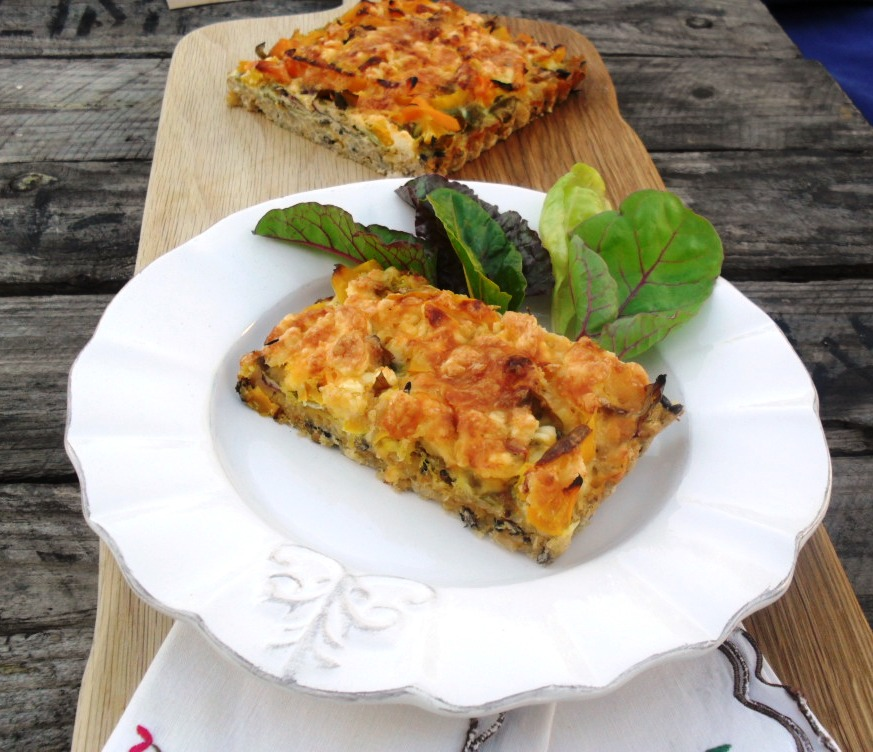 Brown rice tart with peppers and spinach rice 3