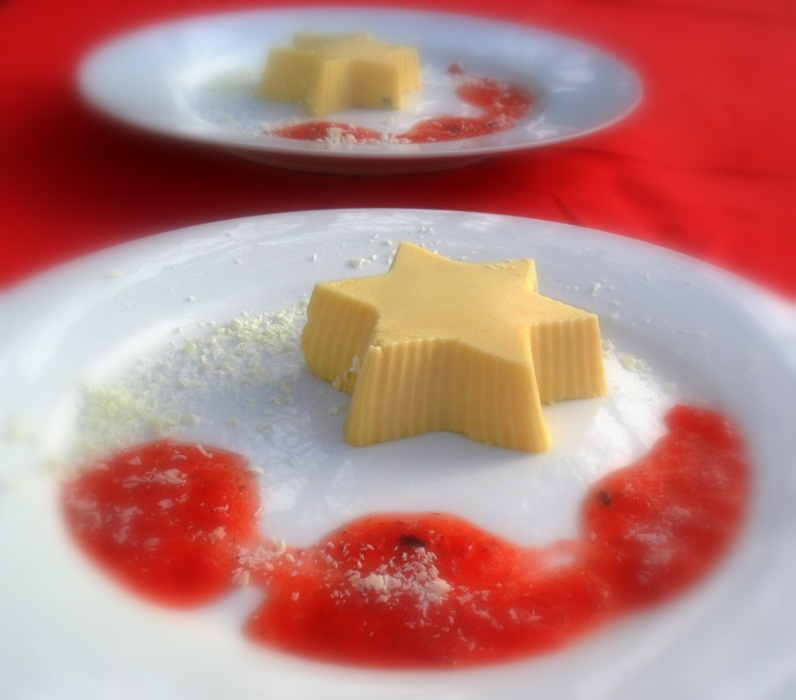 Creamy passionfruit stars with a strawberry sauce
