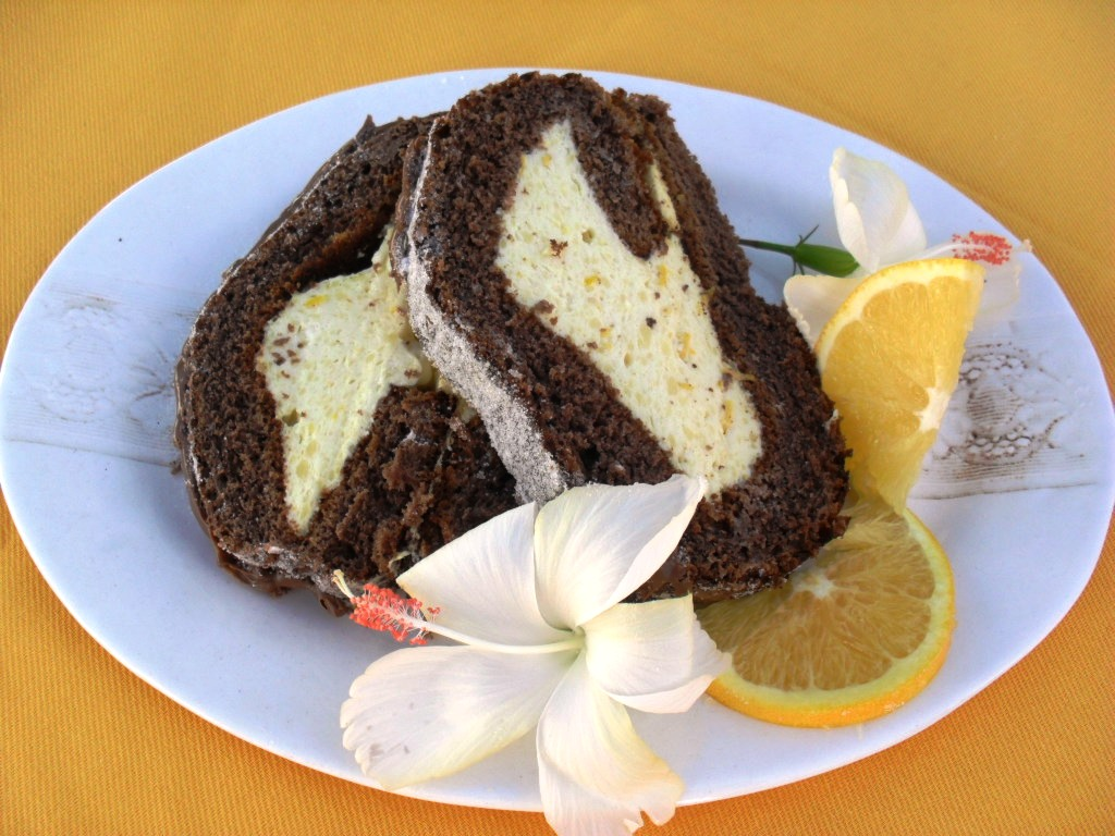 Chocolate swissroll with orange mousse filling