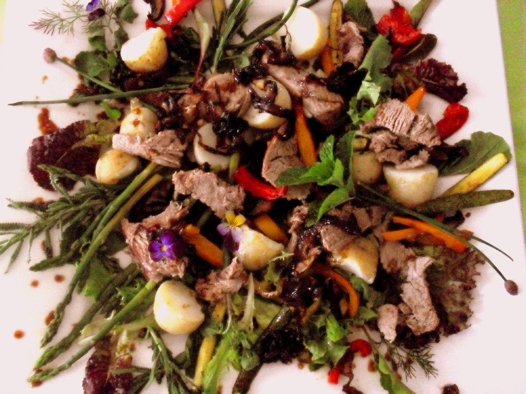 Warm lamb and vegetable salad