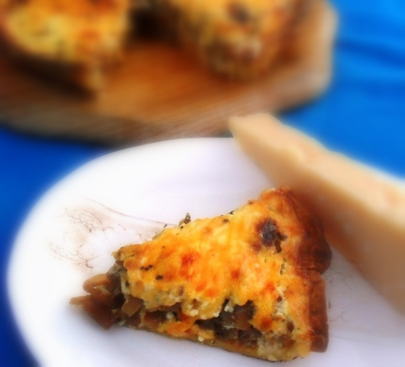 Onion, cheese and thyme quiche