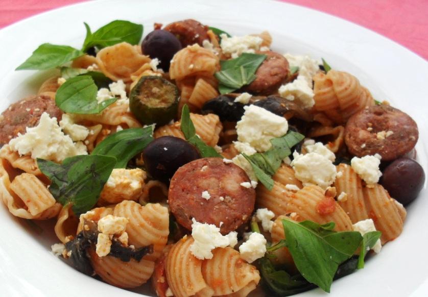 basil pesto with chorizo and feta