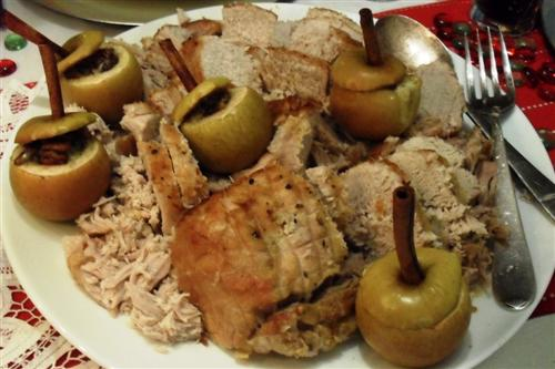 Roasted pork belly with stuffed baby apples
