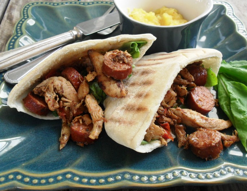 Chicken and chorizo in pita breads with pineapple coulis chicken and chorizo 6