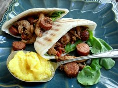 Pita filled with chicken and chorizo