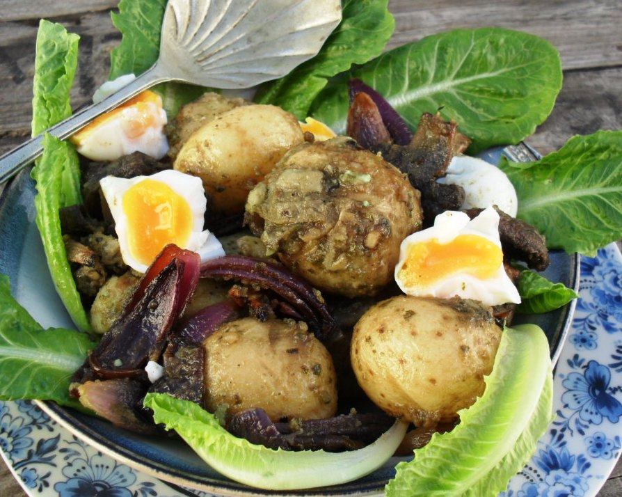 warm potato salad with aubergines and eggs