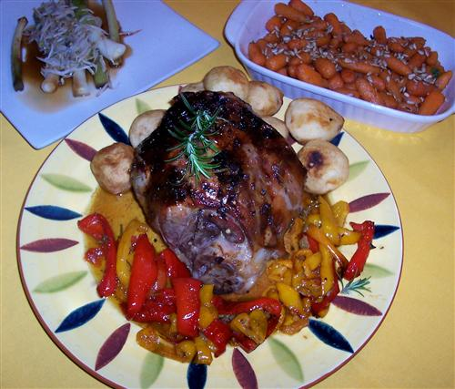 Leg of lamb cooked in muscadel with sweet peppers