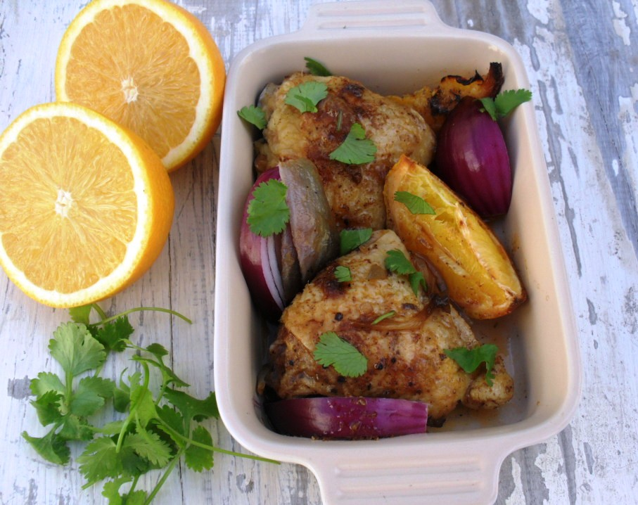 Chicken with oranges and red onions chicken and orange dish 3