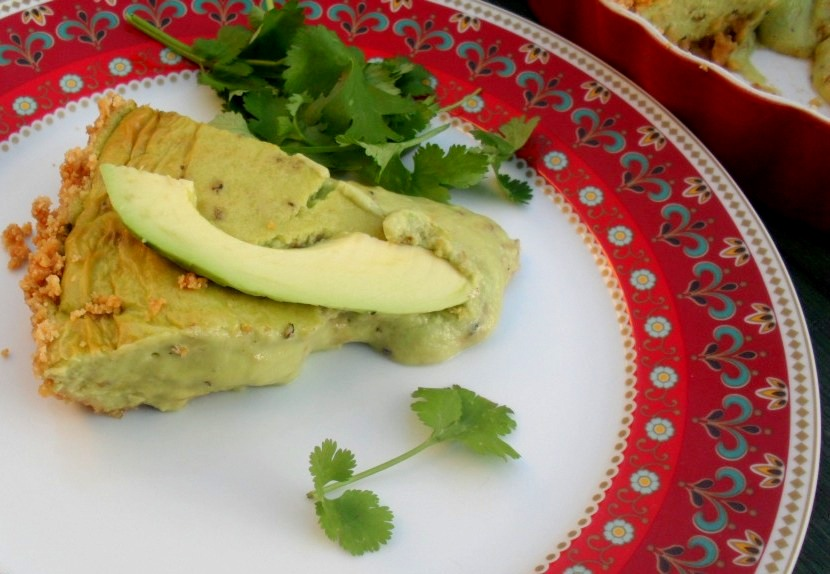 Slice of avocado cheesecake