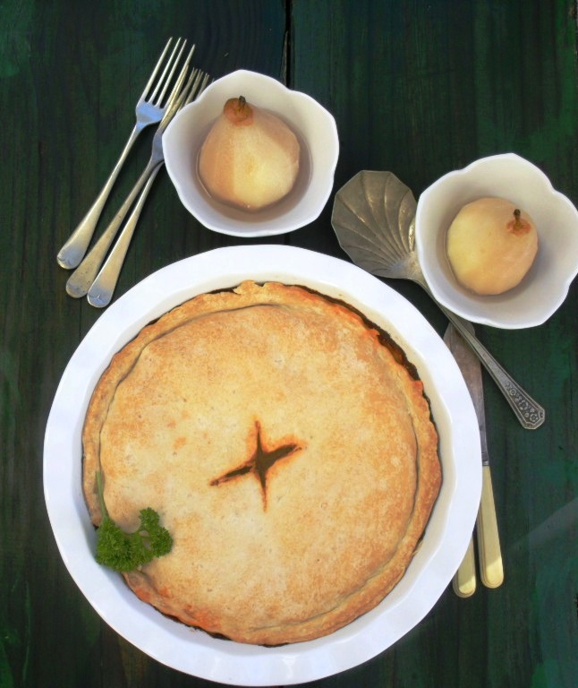 Beef and vegetable pie with poached pears