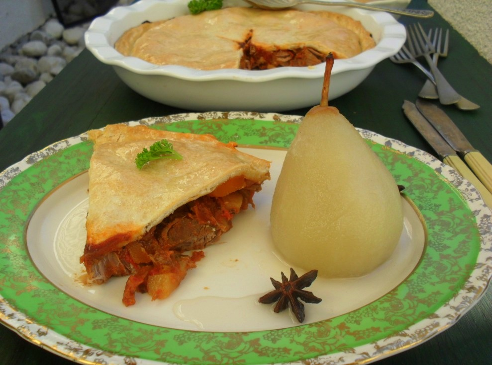Beef pie and poached pears