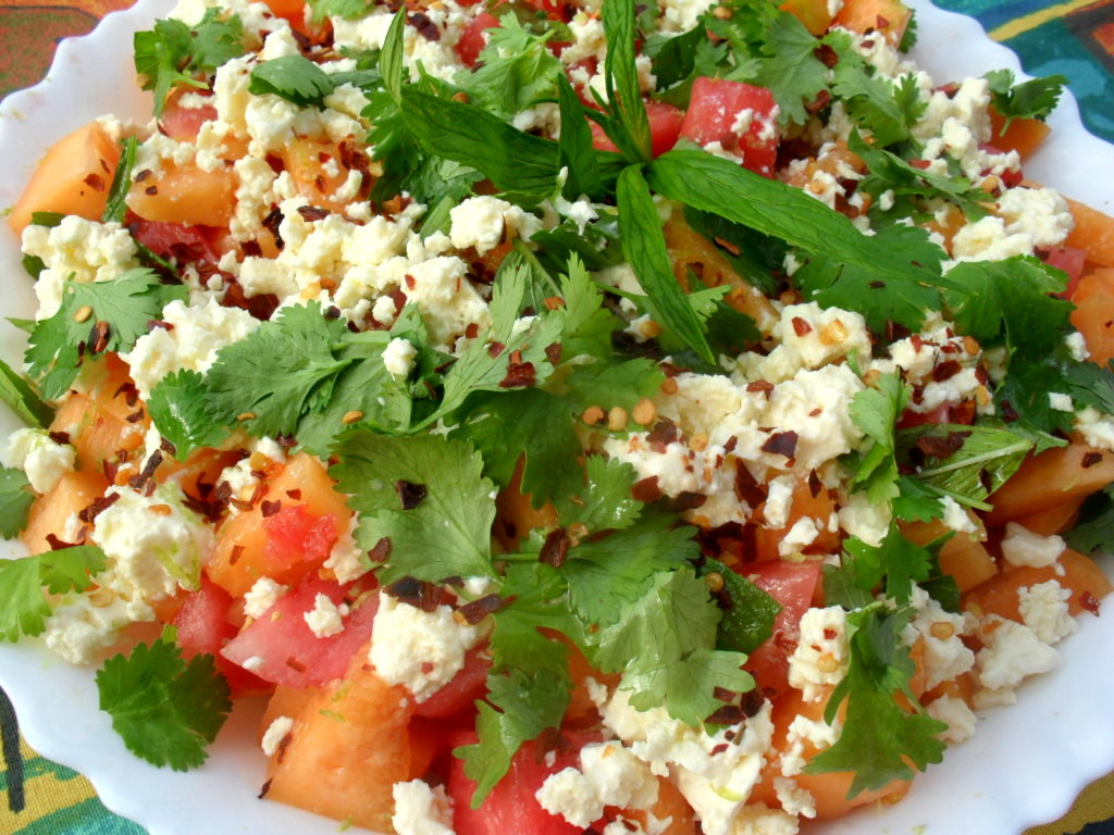 Watermelon and spanspek salad with feta
