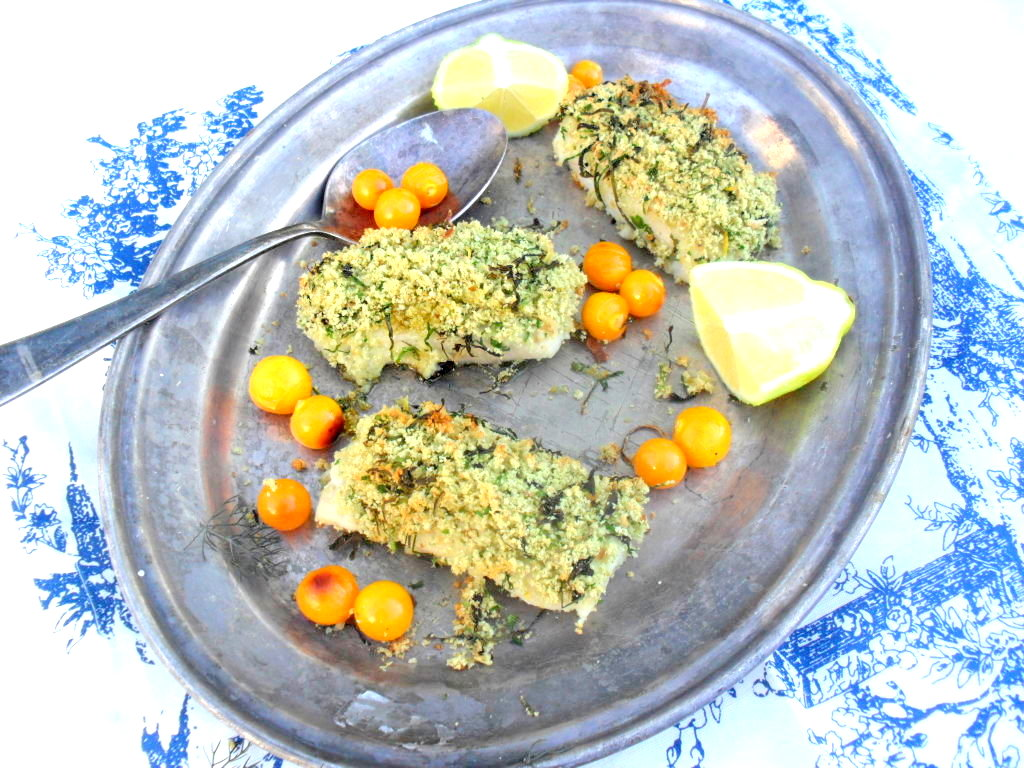 Herb crusted fish fillets with grilled gooseberries fish with herb ...