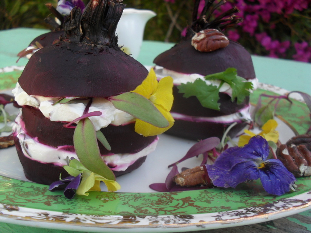 Beetroot stacks without dressing