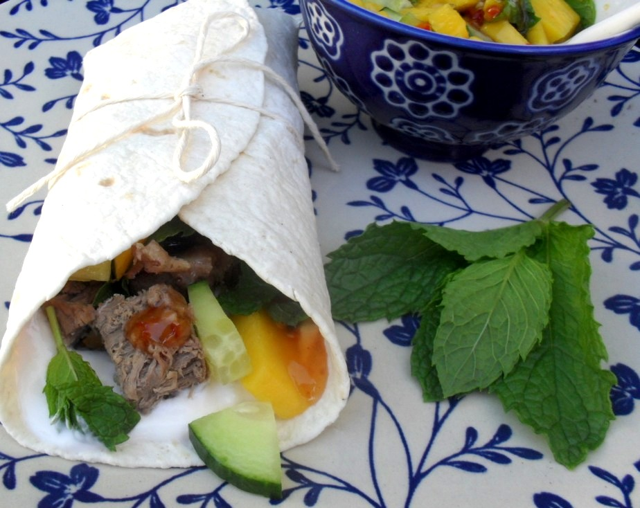 wrap with leg of lamb served with mango and mint salsa