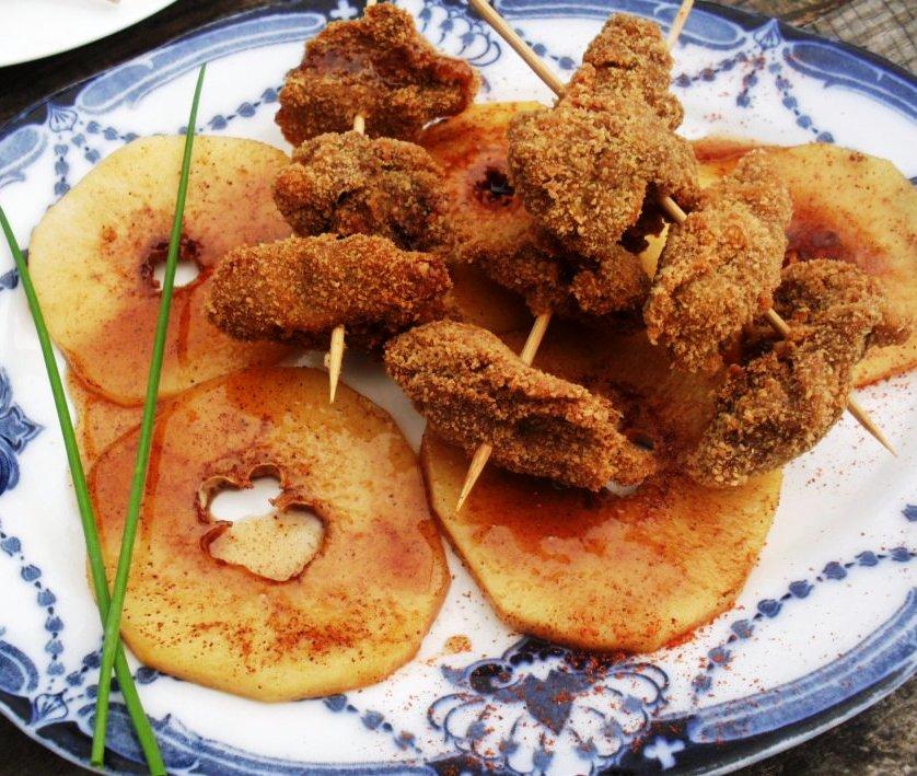 Spicy skewered chicken livers