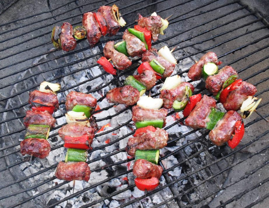 Boerewors and vegetable kebabs