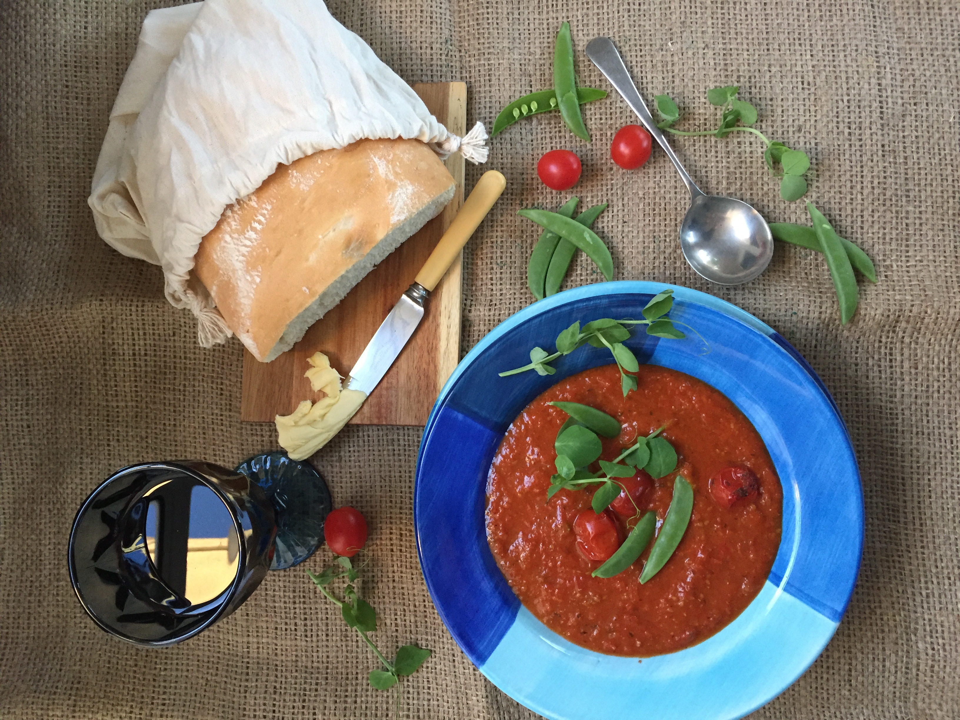 Roasted tomato soup with peas and peashoots - Pink Polka Dot Food