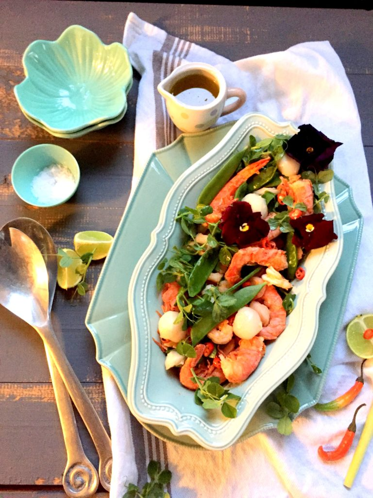 pea, prawn and litchi salad